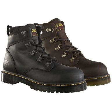 These Dr Martens Heritage Airwair Safety Boots are finished with water resistant Leather Uppers and are Made to British Standard EN 345 200 Joules SB. This boot features the Classic commando style slip resistant air cushioned sole, 5 metal eyelets, and a PU cushioned foot-bed. Breathable linings ensure total comfort and durability.