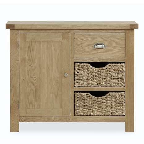 Oakley Small Oak Sideboard With Baskets
