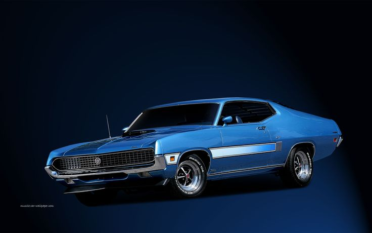 Torino GT Wallpaper | 1970 | Blue with side stripe - 1440_01