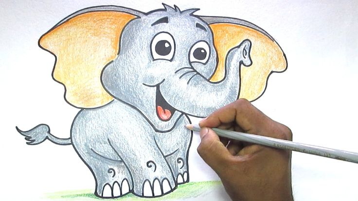 how to draw a cute elephant