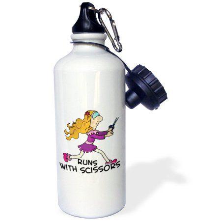 3dRose Funny Runs WIth Scissors Girl Humor Design, Sports Water Bottle, 21oz, White