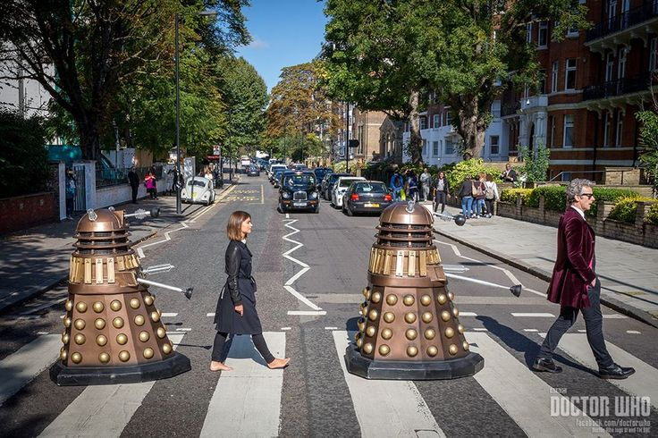 Peter Capaldi, Jenna-Louise Coleman and a couple of Daleks on Abbey Road.