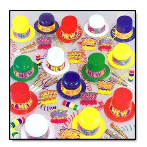 "Colourama Assortment for 100 People.     Each kit consists of 25 plastic N.Y. toppers, 25 plastic N.Y. Derbies, 50 printed N.Y. tiaras with fringe, 100 9"" printed horns & 400 flameproof serpentine throws complete in a corrugated shipper."