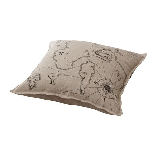 IKEA - BENZY LAND, Cushion, Cover is made of ramie; a hard-wearing and absorbent natural material.Reversible; a different design on each side.The buttons make the cover easy to remove.: