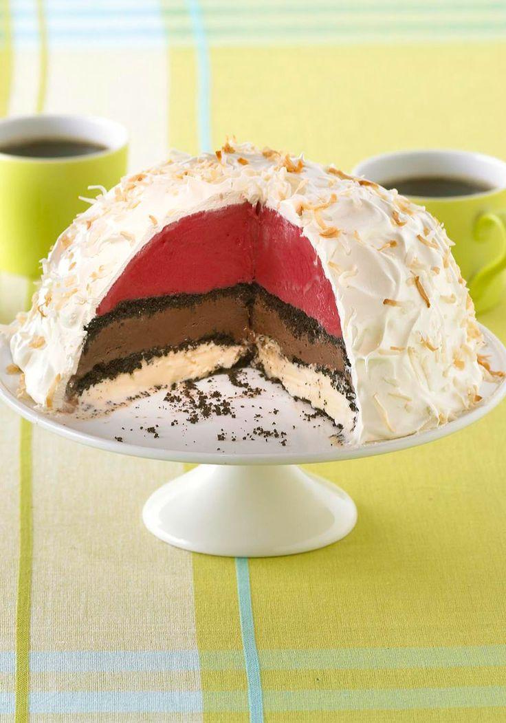 Layered Ice Cream Torte — Layers of chocolate and vanilla ice cream ...