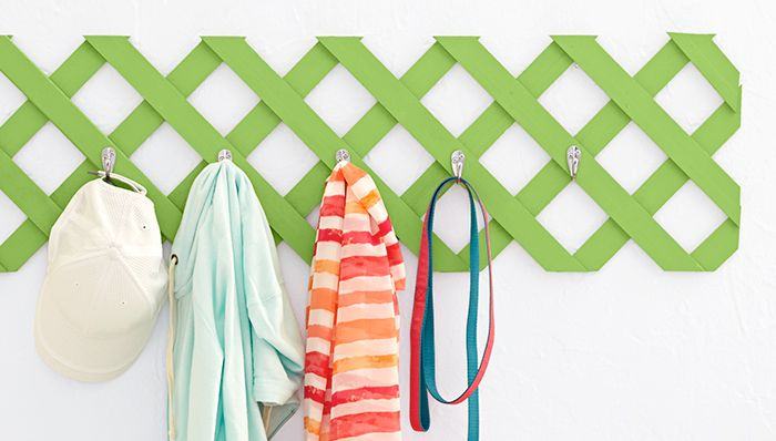 Entry organization for less than $30! Lattice plus hooks equals a coat rack. -- Lowe's Creative Ideas, easy hanger projects, diy hooks