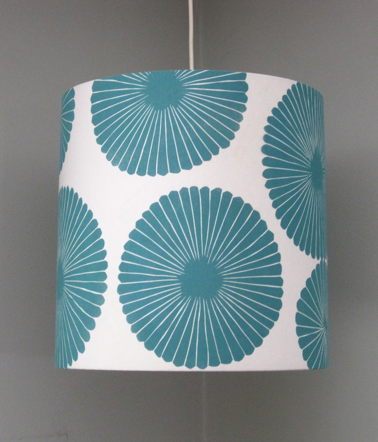 Large Blue Flower Hand Printed Lampshade