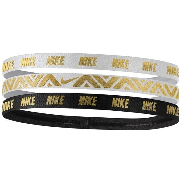 Nike 3-Pk. Metallic Headbands ($15) ❤ liked on Polyvore featuring accessories, hair accessories, white, headband hair accessories, head wrap headband, nike hairband, white headband and nike