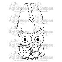 $3.00 Mrs. Frankenstein Owl Digital Stamp from A.J.'s Digi Shoppe™