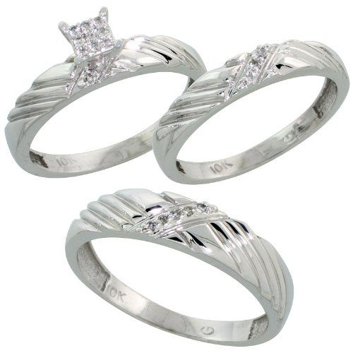 Amazing k White Gold Diamond Trio Engagement Wedding Ring Set for Him and Her piece