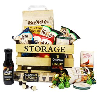 This hamper is packed full of nibbles and treats and is perfect as a Birthday Gift, Father's Day gift, Christmas Gift. This unique gift is presented in a wooden hamper box.