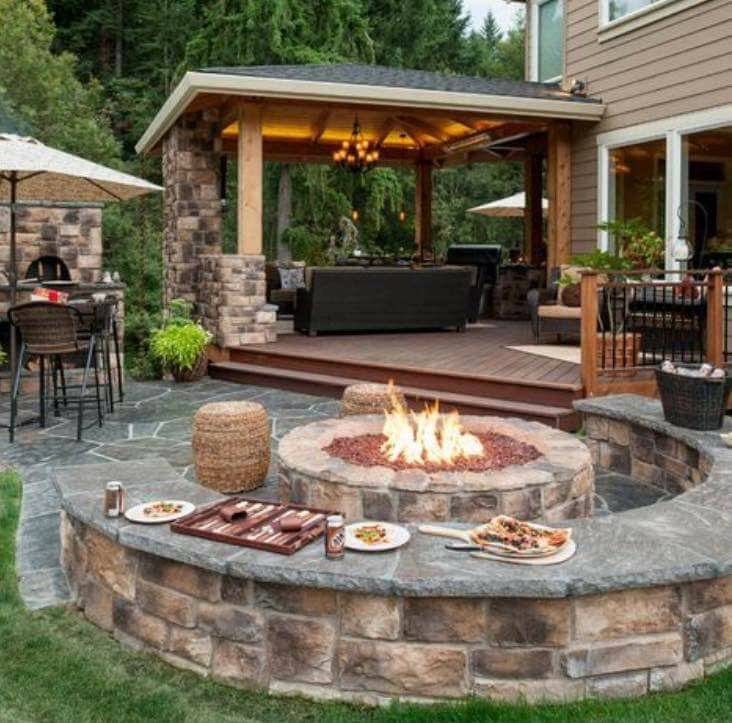 Cozy Firepit!! I like the Covered Porch too... Nola West *** *** *** ***  *** *** - 17 Best Ideas About Fire Pit Designs On Pinterest Fire Pits