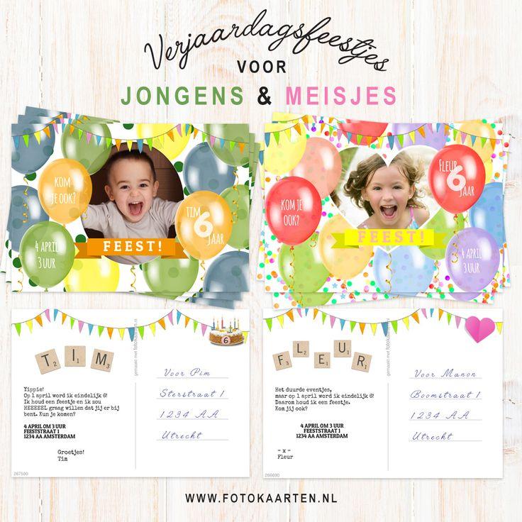 Versier je fotokaart en maak er een supervrolijke kaart van. Dit kan door ballonnen te plaatsen en van kleur te veranderen, slingers op te hangen en van de scrabble letters de naam van de jarige te maken! Je kunt ook een leuk achtergrondje kiezen van sterretjes, spetters, confetti, hartjes noem maar op. We hebben alvast een jongens en meisjes voorbeeld gemaakt waar je mee kunt beginnen. www.fotokaarten.nl