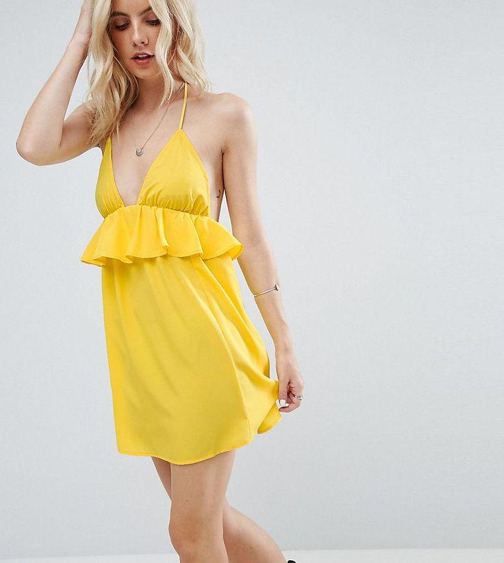 ASOS PETITE Beach Halter Sundress with Frill Detail - Yellow