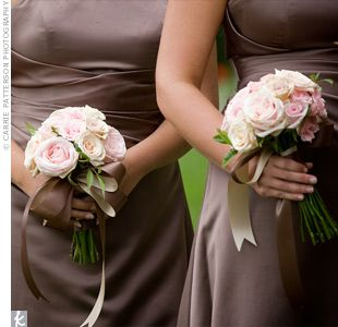Bridesmaid flowers Sahara roses, white hydrangeas, Cinderella garden roses, pink spray roses, and oceana roses. - Google Search