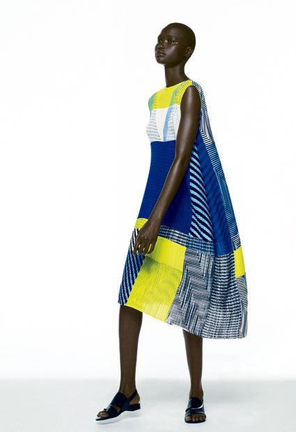 Issey Miyake Blue And Gold Dress