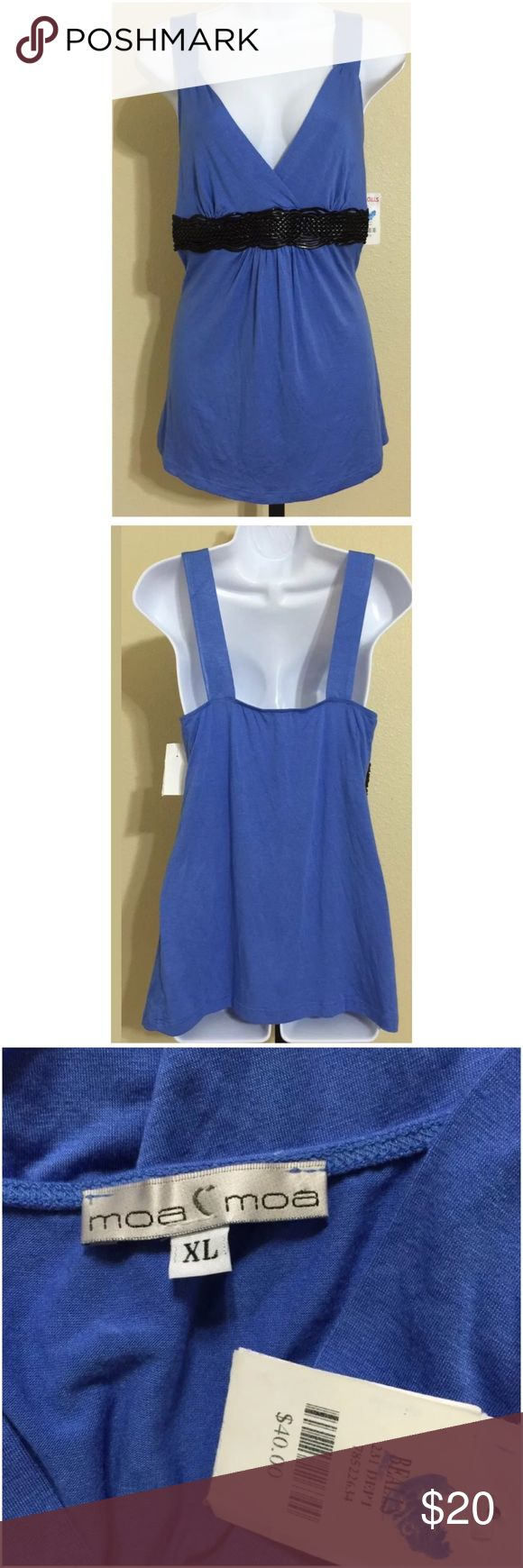 Moa Moa Top Size XL Moa Moa Women's Blouse Size XL Blue Color Black Faux Leather Braided Band Under Bust V Neck Hand Wash 95% Rayon 5% Spandex Armpit to Armpit Approx. 16 Inches Length From Top Of Strap Approx. 26 Inches Shoulder Approx. 15 Inches MSRP $ 40.00 New With Tag Moa Moa Tops Tank Tops