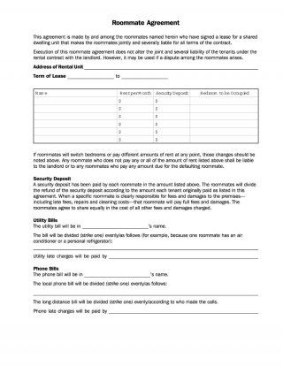 Download roommate agreement template 06