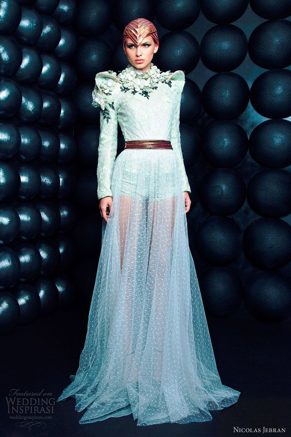 nicolas jebran couture bridal 2013 couture long sleeve gown