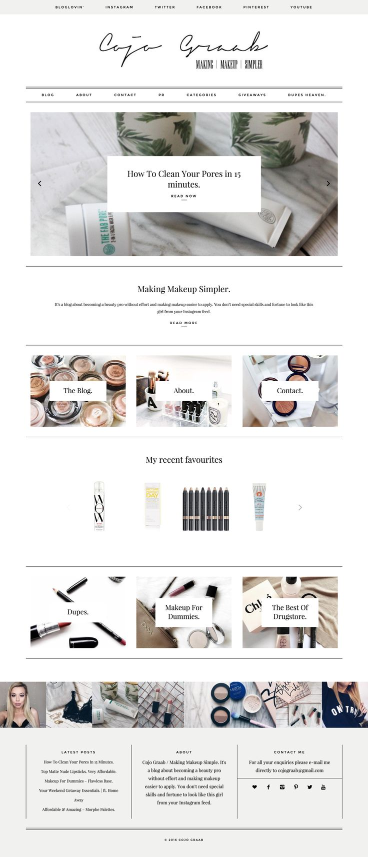 Fashion blog by Cojo Graab running on Station Seven's Parker Wordpress theme. Minimal, styled, blogging template.