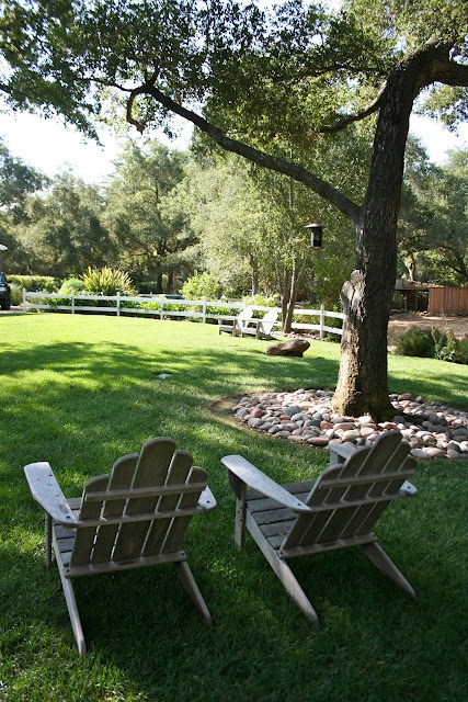 Landscaping With Rocks Around Trees : River rocks around trees outside yard landscaping