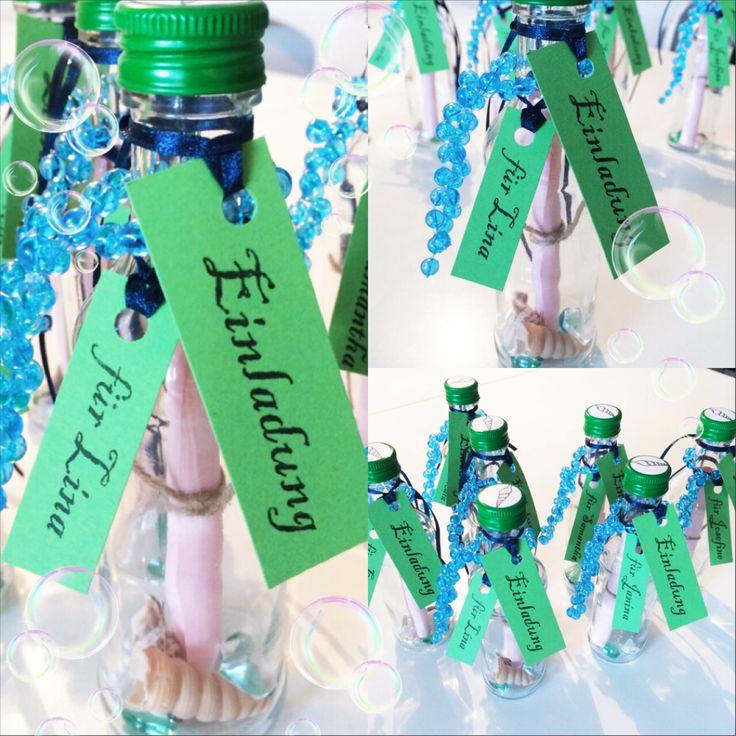 Einladung Flaschenpost Kindergeburtstag Under The Sea Unterwasserwelt  Meerjungfrau Schatzsuche Muschel