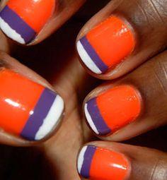 tiger stripe nail design orange and purple clemson - Google Search