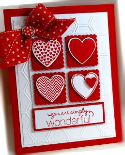 Lovely Valentine Card...with hearts & bow...Me, My Stamps and I: Hearts a Flutter.