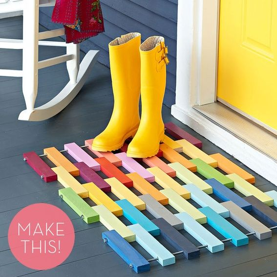 Make a Colorful DIY Wooden Slat Door Mat - 20 Decorative And Practical DIY Spring Projects