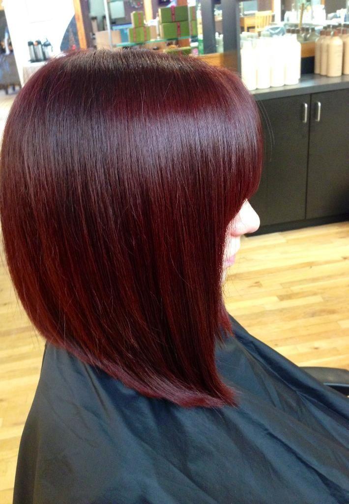 Burgundy Red Inverted Bob Long Bob Haircut Aveda