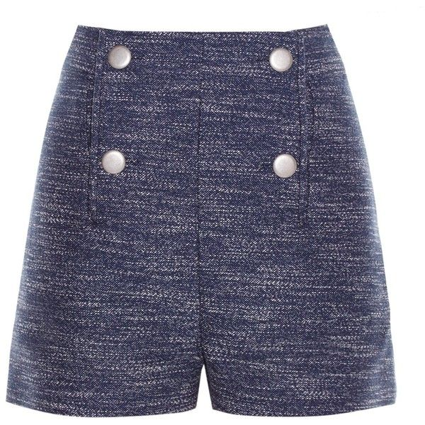 Balenciaga Button-front tweed shorts (£760) ❤ liked on Polyvore featuring shorts, high-rise shorts, nautical shorts, high waisted nautical shorts, white tailored shorts and balenciaga