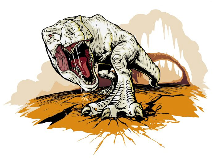 "A highly detailed sketch of the ""albino"" Giganotosaurus ..."