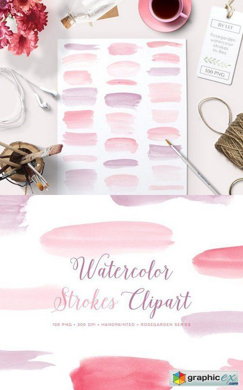 Watercolor Paint Brush Strokes PNG  stock images
