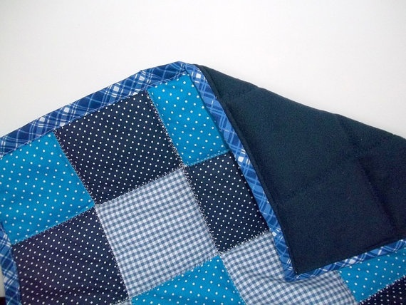 Blue Patchwork Baby Boy Quilt Baby Boy Quilt by PillowsCamilla, $78.00