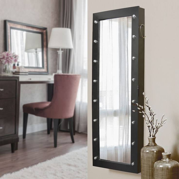 New View Marquee Wall, Floor & Over-The-Door Mirror Jewelry Armoire, Black