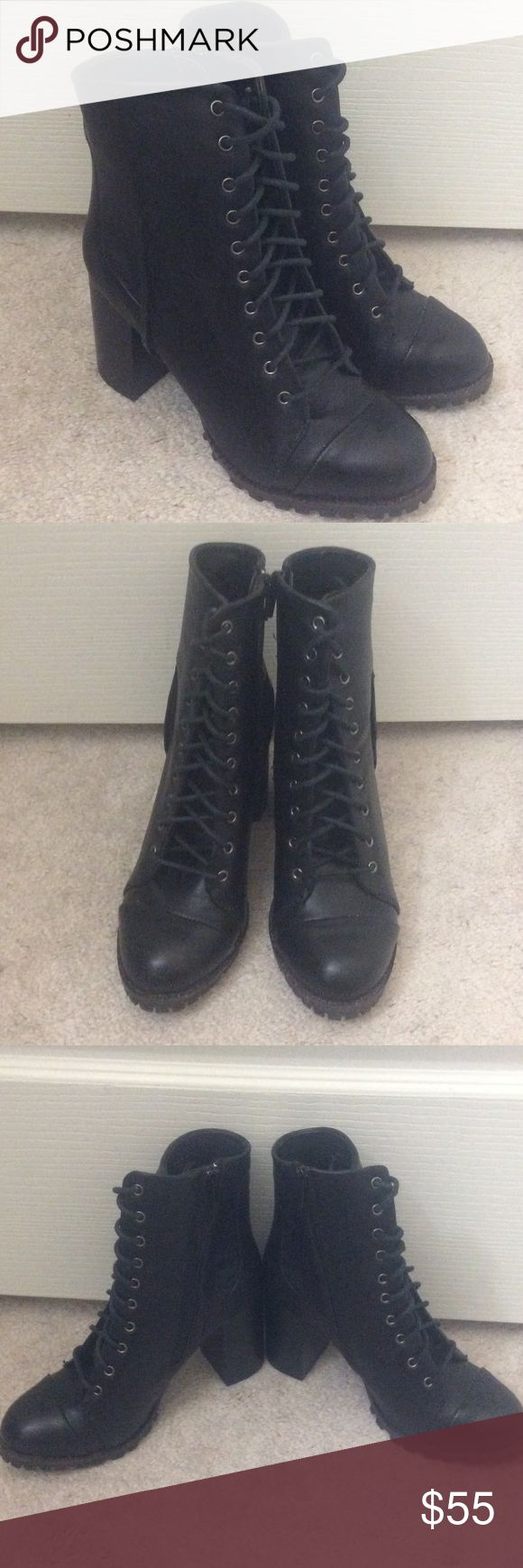🆕 Black leather combat boots- size 7 NEW black leather combat boots with zippers on the inside- women's US size 7. No box, but has all the stickers on the sole. Retails $100. PRICE FIRM and please note trade values are higher than listed price. Report Shoes Combat & Moto Boots