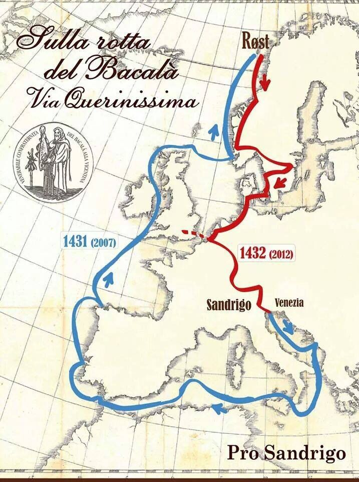 Itinerary of Pietro querini in 1432 when he went down with his ship and landet on the Island Røst in Norway. His repatriation is also included here