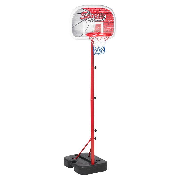 Verstelbare basketbalstandaard. De basketbalstandaard is gemakkelijk in te klappen en mee te nemen. In de voet kun je water of zand storten voor meer stabiliteit. De set komt met een netje, plastic basketbal en ballenpomp.
