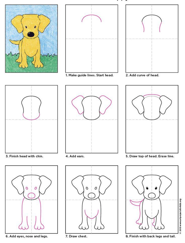 Hund Labrador-Welpen zeichnen | Artprojectforkids by Kathy Barbro