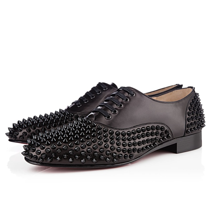 Christian Louboutin presents the Freddy Man Flat shoes in an all black  tonal colour. The original Freddy Man shoe made its debut in Dancer In a  Daydream.