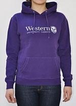 Purple Western University Hoodie with Crest