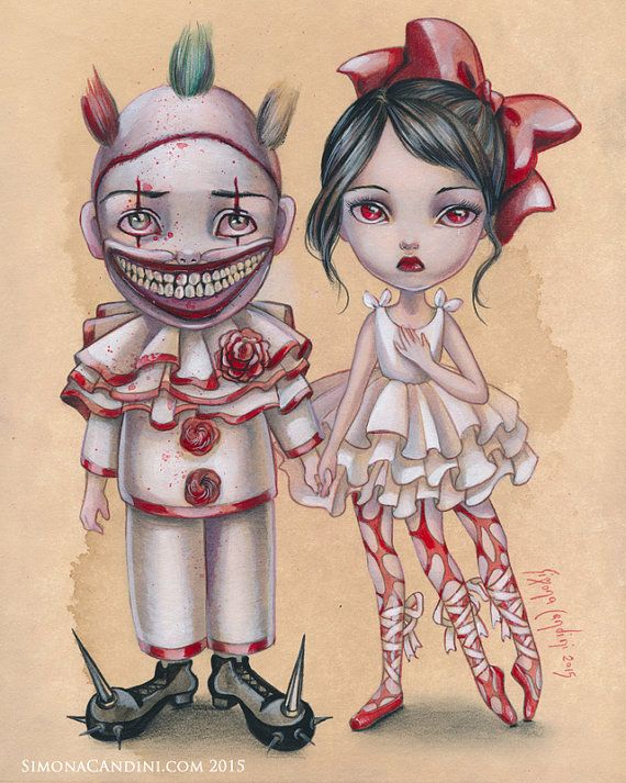 Twisty et Trixie LIMITED EDITION impression signé numéroté Simona Candini Art Freaks Clown Lowbrow pop surréaliste American Horror Show Halloween