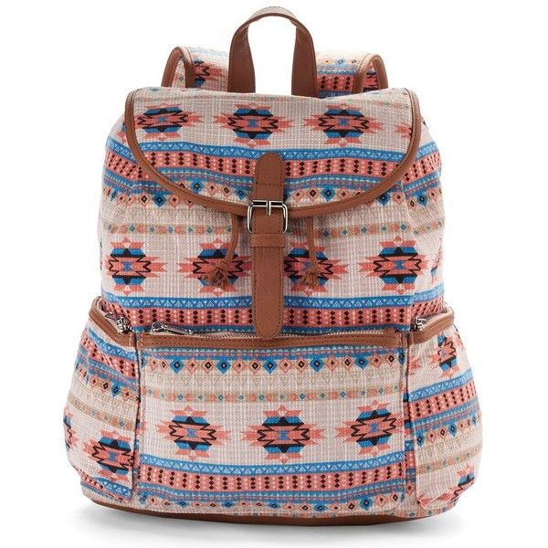 Mudd Nicole Aztec Backpack (Beige/Khaki) found on Polyvore
