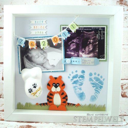 Stampin´ Up!_Baby Shadow Box_Baby Erinnerungsbild_Geburt Erinnerung_Fußabdruck_Mini Babybauch_Punch Art_Tiger_Fähnchenstanze_Fransenschere_1