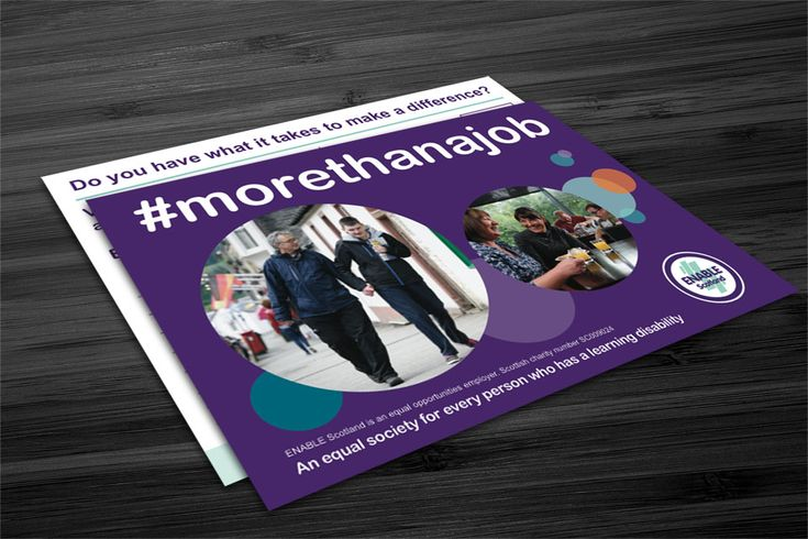 """More Than A Job Postcard Double-sided postcard design for ENABLE Scotland's Recruitment Service called """"More Than A Job"""". #graphicdesign #postcard #recruitment"""
