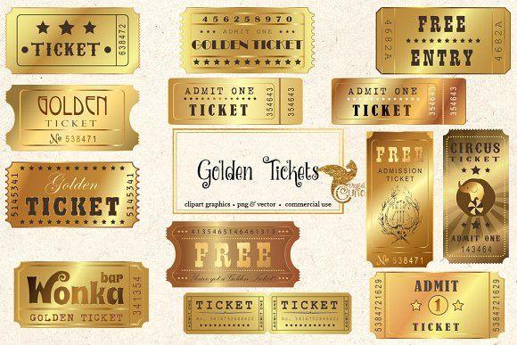 Golden Tickets Vector Clipart By Digital Curio On Creativemarket Golden Ticket Business Card Template Word Free Business Card Templates