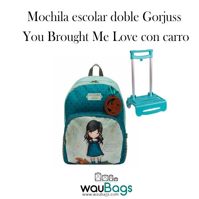 "Consigue la Mochila Escolar Doble Gorjuss con carro con el diseño ""You Brought Me Love"", por tan solo 69€!!  @waubags.com #gorjuss #santorolondon #mochila #mochilaconcarro #carro #escolar #cole #vueltaalcole #waubags"
