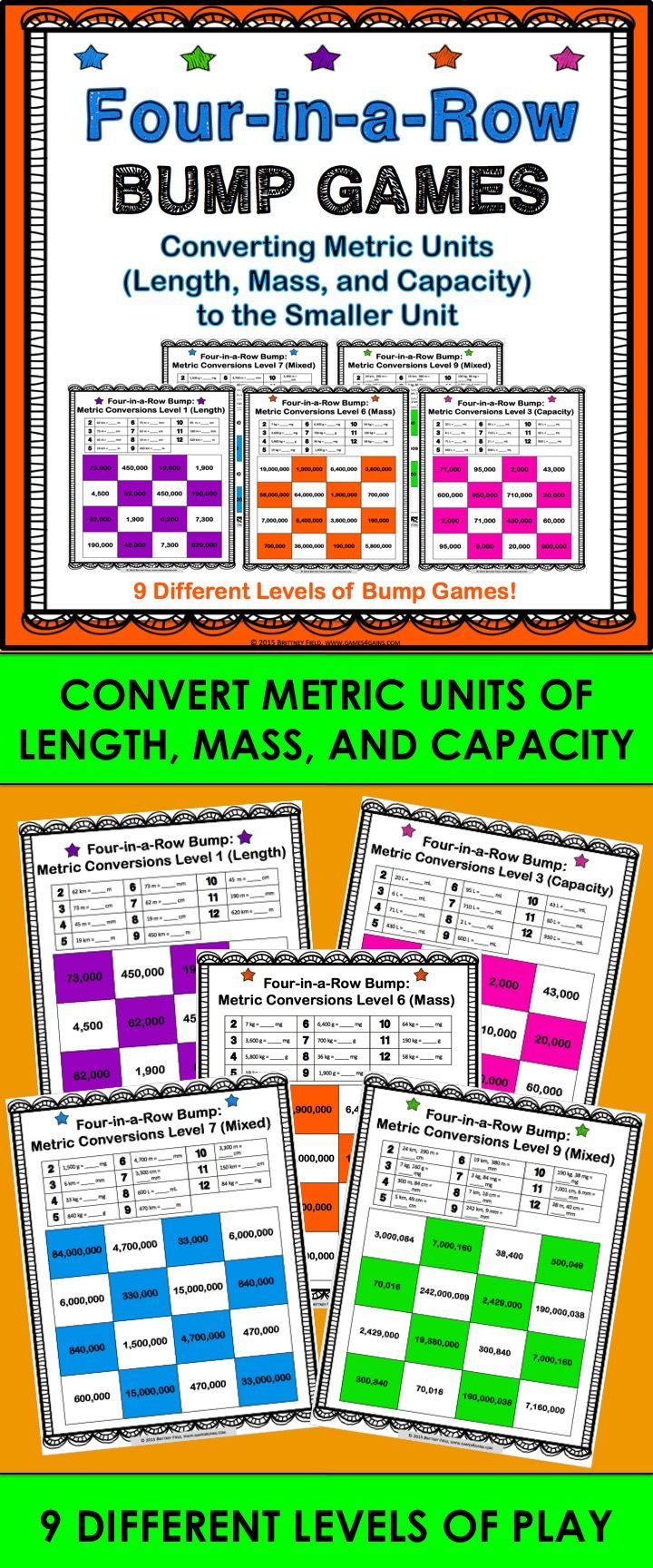 Metric Conversions Bump Games contains 9 different games to help students practice converting units of length, mass, and capacity in the metric system from larger units to smaller units. The metric measurement units covered are kilometers, meters, centimeters, millimeters, kilograms, grams, milligrams, liters, and milliliters. These metric measurement bump games work great in small groups, as center activities, or even as informal assessments!