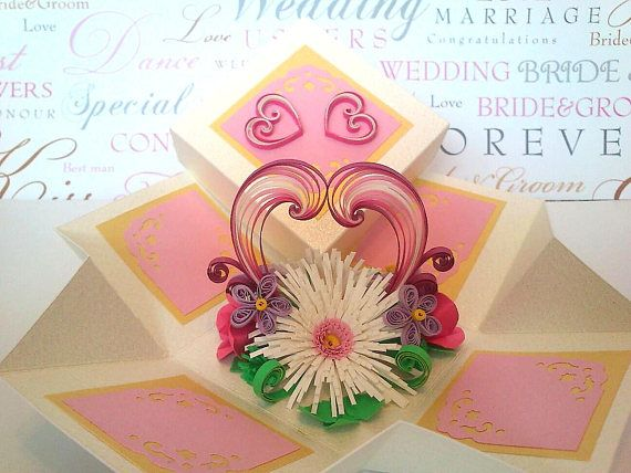3d Handmade Love Card Quilling Card Box Pop Up Valentine Card