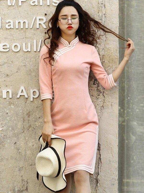 Pink Sweater Midi Qipao / Cheongsam Dress